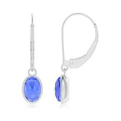 Bezel Set Oval Tanzanite Solitaire Drop Earrings
