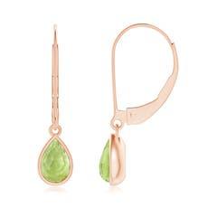 Pear-Shaped Peridot Solitaire Drop Earrings