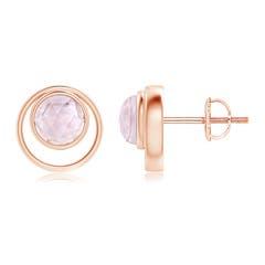 Bezel Set Morganite Concentric Circle Stud Earrings