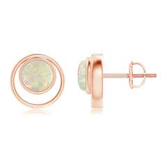 Bezel Set Opal Concentric Circle Stud Earrings