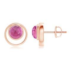 Bezel Set Pink Tourmaline Concentric Circle Stud Earrings