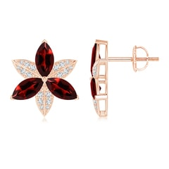 Garnet and Diamond Trillium Flower Stud Earrings