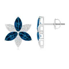 London Blue Topaz and Diamond Trillium Flower Stud Earrings