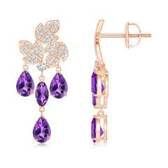 Pear and Marquise Amethyst Grapevine Earrings