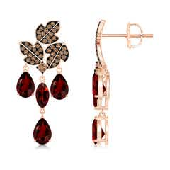 Pear and Marquise Garnet Grapevine Earrings