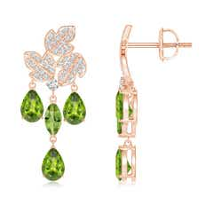 Pear and Marquise Peridot Grapevine Earrings