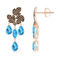 Pear and Marquise Swiss Blue Topaz Grapevine Earrings