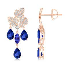 Pear and Marquise Tanzanite Grapevine Earrings