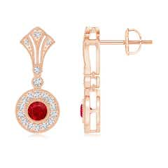 Bezel-Set Ruby Halo Dangle Earrings with Kite-Shaped Motif