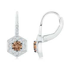 Coffee Diamond Leverback Earrings with Hexagonal Halo