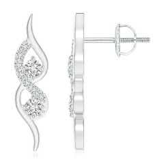 Flame-Shaped Diamond Stud Earrings