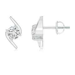 Solitaire Diamond Bypass Stud Earrings