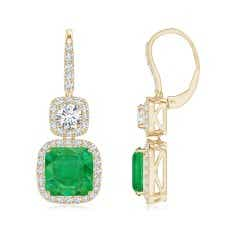 GIA Certified Colombian Cushion Emerald Double Drop Earrings