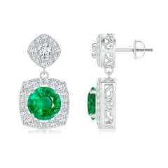Angara Emerald Stud Earrings - GIA Certified Colombian Cushion Emerald Halo Studs fIrQPl