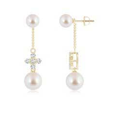 Angara Akoya Cultured Pearl Double Drop Earrings with Diamonds
