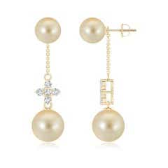 Angara Golden South Sea Cultured Pearl and Sapphire Drop Earrings XEguwBCv8