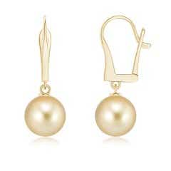 Solitaire Golden South Sea Cultured Pearl Leverback Earrings