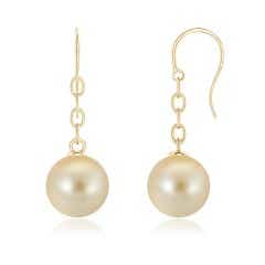 Solitaire Golden South Sea Cultured Pearl Drop Earrings