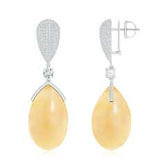 Cabochon Citrine Teardrop Earrings with Diamond Cluster