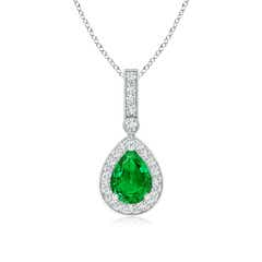 Pear Emerald and Diamond Halo Pendant (GIA Certified Emerald)