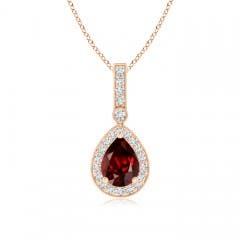 Vintage Diamond Halo Garnet Drop Pendant