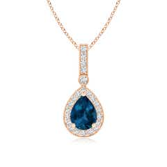 Vintage Style London Blue Topaz Pendant with Diamond Halo