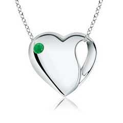 Gypsy-Set Emerald Heart Necklace in Silver