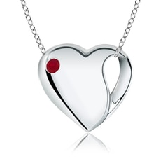 Gypsy-Set Ruby Heart Necklace in Silver