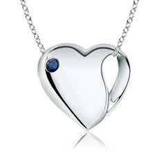 Gypsy-Set Sapphire Heart Necklace in Silver