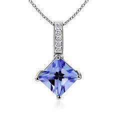 Square Tanzanite Solitaire Pendant with Diamond Bale