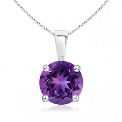 Classic Round Amethyst Solitaire Pendant