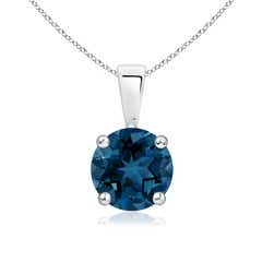 Round London Blue Topaz Solitaire Pendant