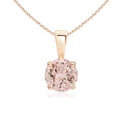 Prong Set Round Morganite Solitaire Pendant