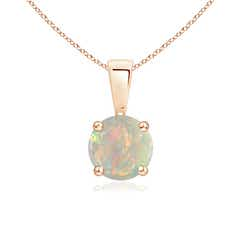 Classic Round Opal Solitaire Pendant