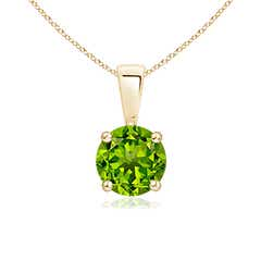 Prong Set Round Peridot Solitaire Pendant