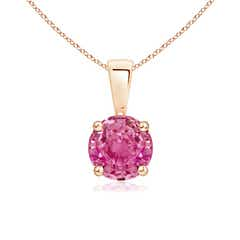 Classic Round Pink Sapphire Solitaire Pendant