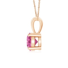 Toggle Classic Round Pink Sapphire Solitaire Pendant