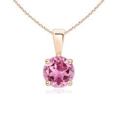 Classic Round Pink Tourmaline Solitaire Pendant