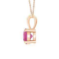 Toggle Classic Round Pink Tourmaline Solitaire Pendant