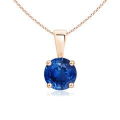 Prong Set Round Blue Sapphire Solitaire Pendant