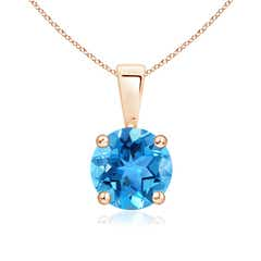 Prong Set Round Swiss Blue Topaz Solitaire Pendant