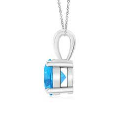 Toggle Classic Round Swiss Blue Topaz Solitaire Pendant