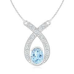 Ribbon twist Oval Aquamarine Pendant with Diamond Accents