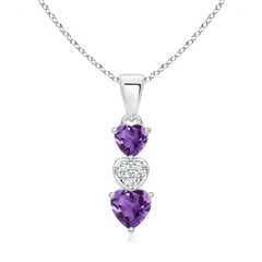 Dangling Amethyst and Diamond Triple Heart Pendant