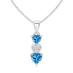 Dangling Swiss Blue Topaz and Diamond Triple Heart Pendant
