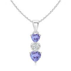 Dangling Tanzanite and Diamond Triple Heart Pendant
