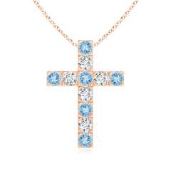 Angara Marquise and Round Pink Sapphire Cross Pendant in Platinum c8qg6s