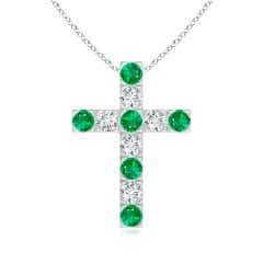Flat Prong-Set Emerald and Diamond Cross Pendant