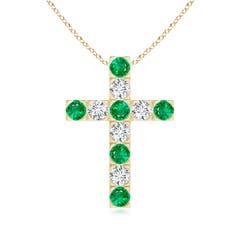 Flat Prong-Set Emerald and Diamond Cross Pendant