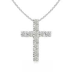 Flat Prong-Set Moissanite Cross Pendant Necklace